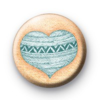Blue Pattern Heart Badge