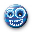 Blue Stripy Monster Button Badge