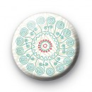 Blue Swirl Flower Pattern Badge