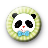Bow Tie Panda Bear Button Badge