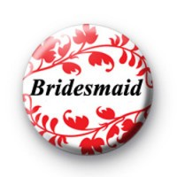 Red Floral Pattern Bridesmaid Badges
