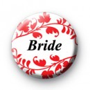 Red Floral Pattern Bride Badge