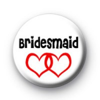 Red Love Hearts Bridesmaid Badge