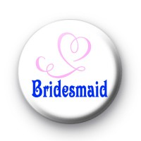 Bridesmaid Pink Heart Badges