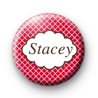 Bright Red Check Personalised Name Badges