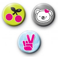 Set of 3 Bright Cute Girly Badges