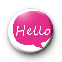 Bright Pink HELLO Badge