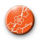 Burnt Orange Floral Button Badges