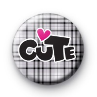 Grey Cute Button Badge