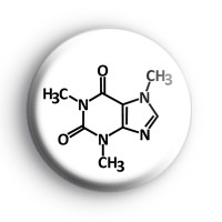 Caffeine Molecule Button Badge