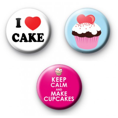 Set of 3 Cupcake Button Badges