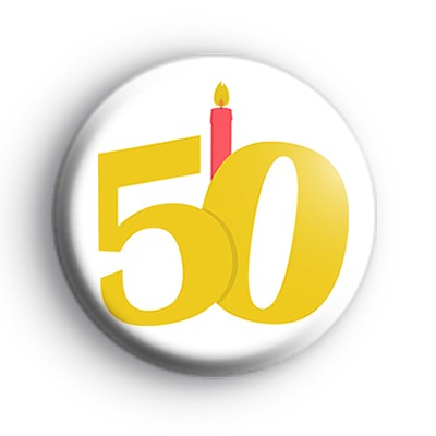 Candle 50th Birthday Badge