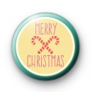 Candy Cane Merry Christmas Button Badge