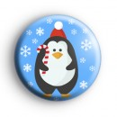 Snowflake Candy Cane Penguin Badge