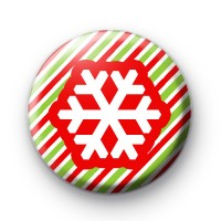 Candy Cane Stripe Snowflake Badge