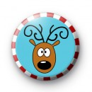 Reindeer Candy Cane Xmas Badge