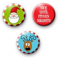 Set of 3 Nice Until Proven Naughty Badges