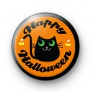 Black Cat Happy Halloween Badge