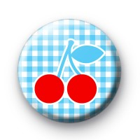 Cherry Red and Blue Gingham badge