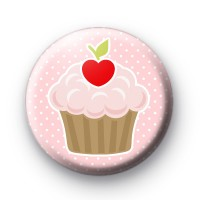 Cute Pink Cherry Cupcake Badge