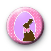 Choccy Easter Bunny Pink Badge thumbnail