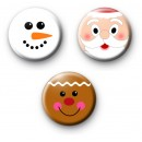 Set of 3 Festive Face Button Badges