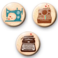 Set of 3 Old School Geek Badges