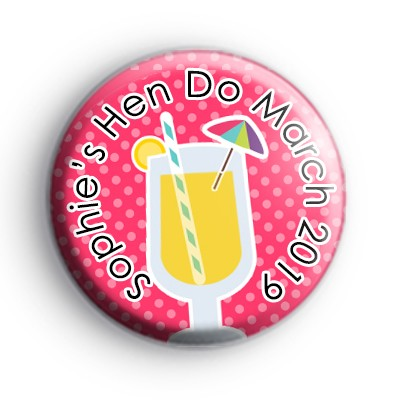 Cute Cocktail Custom Hen Party Badge