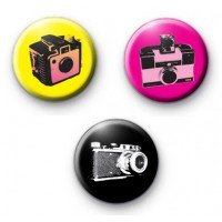 Set of 3 Colourful Retro Camera Badges