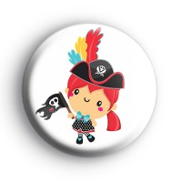 Cool Pirate Girl Button Badge