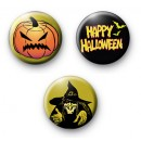 Set of 3 Evil Halloween Badges