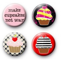 Set of 4 Cute Cupcake Button Badges