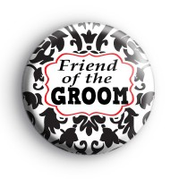 Black and Red Custom Of The Groom Badge