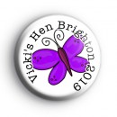 Custom Purple Butterfly Hen Party badges