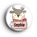 Custom Christmas Reindeer Name Badge