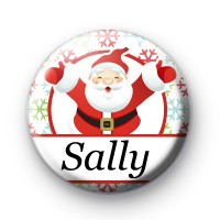 Custom Santa Snowflake White Name Badge