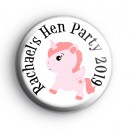 Pink Unicorn Hen Party Badge