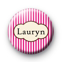 Bright Pink Stripey Custom Name Badges thumbnail