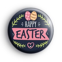 Cute Blue Happy Easter Party Badges
