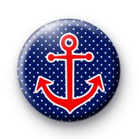 Cute Red Anchor Button Badge
