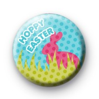Cute Hoppy Easter Pink Badge