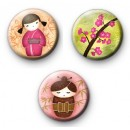 Set of 3 Cute Kawaii Japanese Girls Badges