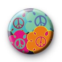 Cute Peace Flowers Badges