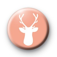 Cute Peach Stag's Head Badge