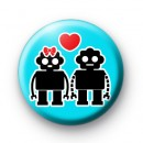 Cute Robot Love Button Badges