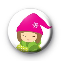 Festive Cute Girl Button Badge