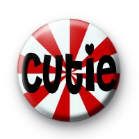 Red and White Cutie Button Badges