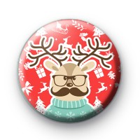 Super Cute Moustache Reindeer Badge