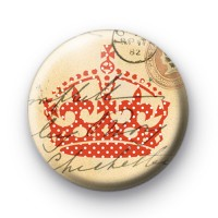Red dotty Crown Button Badges