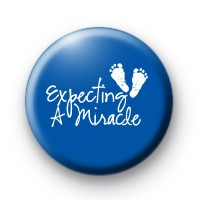 Blue Expecting a Miracle Button Badges